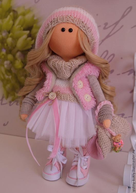 Коллекционные куклы ручной работы. Ярмарка Мастеров - ручная работа. Купить Текстильная куколка- малышка Лолочка. Handmade. Розовый