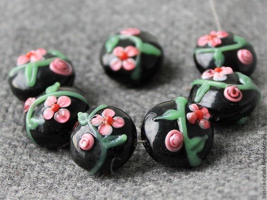 Стеклянные бусины формы рондель с цветами в технике лэмпворк   lampwork для использования в сборке браслетов, колье и бус, сережек