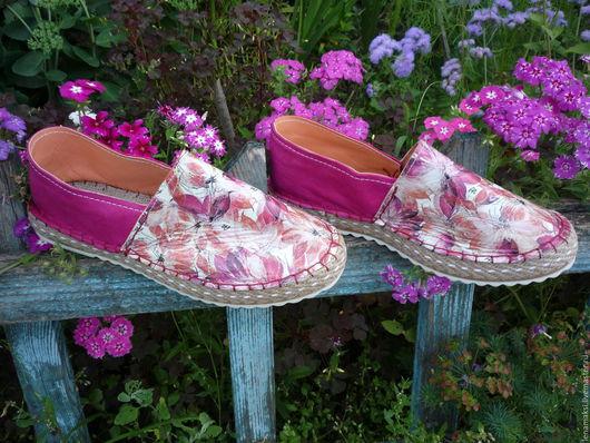 """Обувь ручной работы. Ярмарка Мастеров - ручная работа. Купить Эспадрильи """"Лютики-цветочки"""". Handmade. Фуксия, женская обувь"""