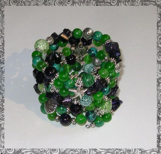 Многорядный браслет ручной работы из натуральных камней  в сине-зеленых тонах.  by Inna (inspiration-nsk)