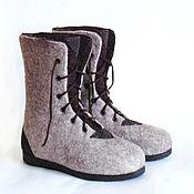 Обувь ручной работы. Ярмарка Мастеров - ручная работа Высокие серо-сливовые ботинки.. Handmade.