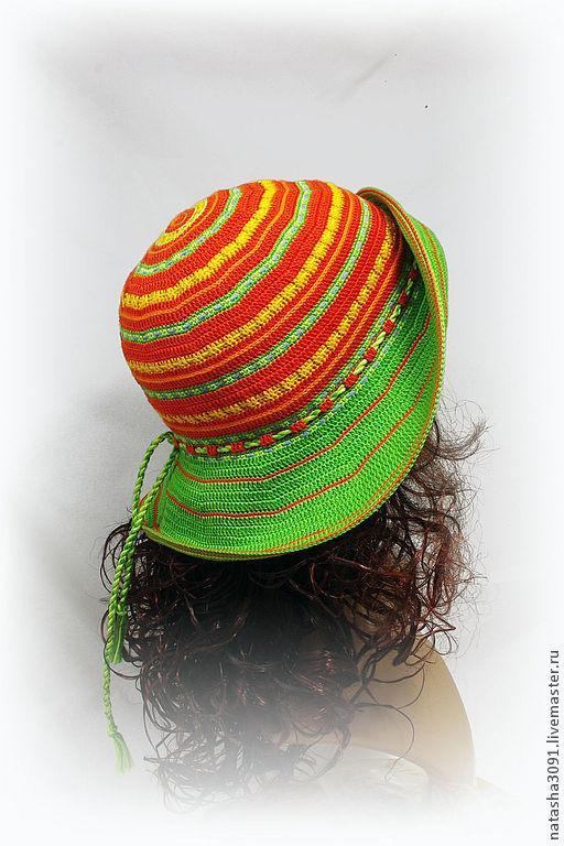 """Шляпы ручной работы. Ярмарка Мастеров - ручная работа. Купить Шляпа """"Energy"""". Handmade. Оранжевый, шляпа с полями, лето, хлопок"""