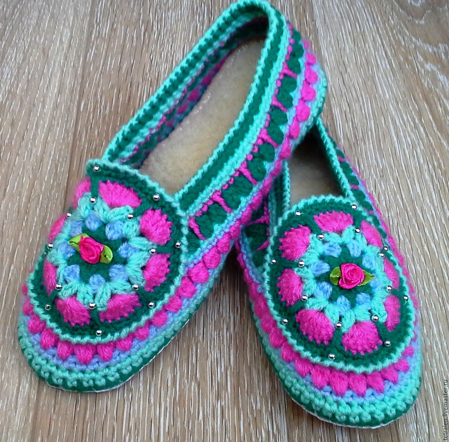 Knitting Patterns For Slippers With Leather Soles : Buy SLIPPERS KNITTED Spring leather sole on Livemaster online shop