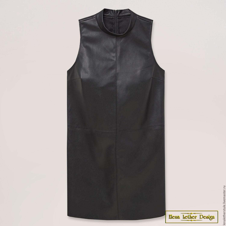 Прямое платье с кожей