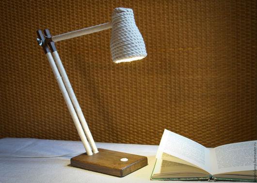 Освещение ручной работы. Ярмарка Мастеров - ручная работа. Купить Настольная лампа из дерева и абажуром из хлопкового каната. Handmade. Белый