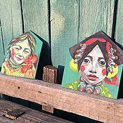 Картины и панно ручной работы. Ярмарка Мастеров - ручная работа Тибет:девушка с петухом. Handmade.