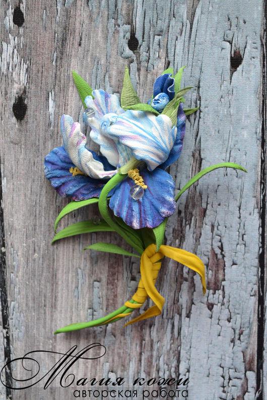 """Броши ручной работы. Ярмарка Мастеров - ручная работа. Купить Брошь из кожи """"Счастье быть мамой"""". Handmade. Синий, цветы из кожи"""