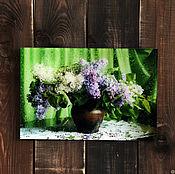 Картины ручной работы. Ярмарка Мастеров - ручная работа Сирень на зеленом фоне. Handmade.