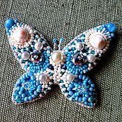 Украшения ручной работы. Ярмарка Мастеров - ручная работа Голубая бабочка-брошь. Handmade.
