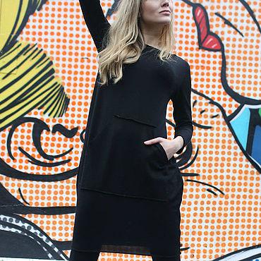 Одежда ручной работы. Ярмарка Мастеров - ручная работа Черное маленькое  платье с карманом кенгуру. Handmade.