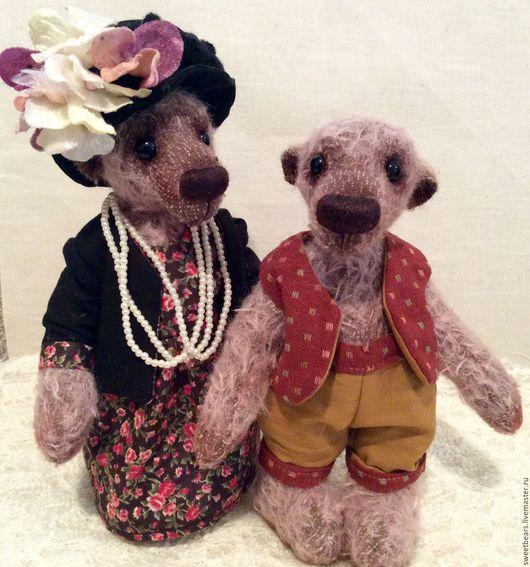 Мишки Тедди ручной работы. Ярмарка Мастеров - ручная работа. Купить Берта и Джордж. Handmade. Бледно-сиреневый, мишка в одежке