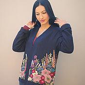 Одежда handmade. Livemaster - original item Wool blue jacket with hand embroidery
