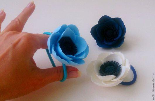 """Заколки ручной работы. Ярмарка Мастеров - ручная работа. Купить """"Небесно-голубой"""" - заколки для волос. Handmade. Цветы ручной работы"""