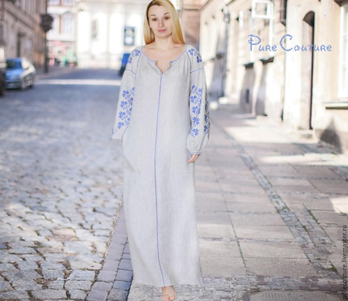 4609fed7720e93 ... Платье в пол с вышивкой Макси платье из льна Бохо платье вышиванка  Дизайнерское платье Бохо платье