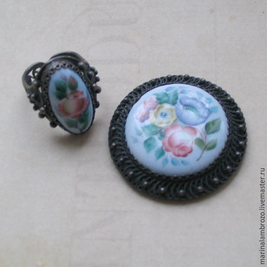 Винтажные украшения. Ярмарка Мастеров - ручная работа. Купить Винтаж: Финифть комплект брошь и кольцо винтаж. Handmade. Голубой