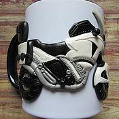 Посуда handmade. Livemaster - original item Mug with motorcycle Personal custom decor polymer clay. Handmade.