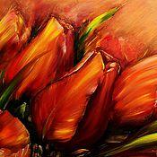 Картины и панно ручной работы. Ярмарка Мастеров - ручная работа Картина Красные тюльпаны. Handmade.