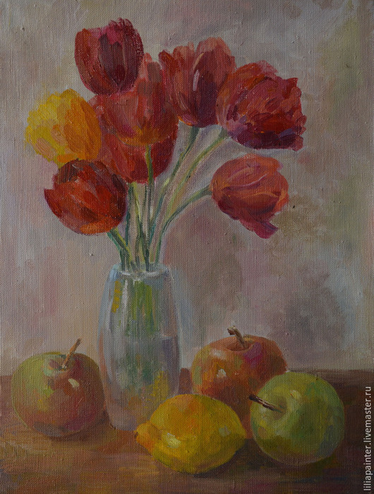 Натюрморт ручной работы. Ярмарка Мастеров - ручная работа. Купить Натюрморт с тюльпанами и фруктами. Handmade. Ярко-красный, желтый, яблоки