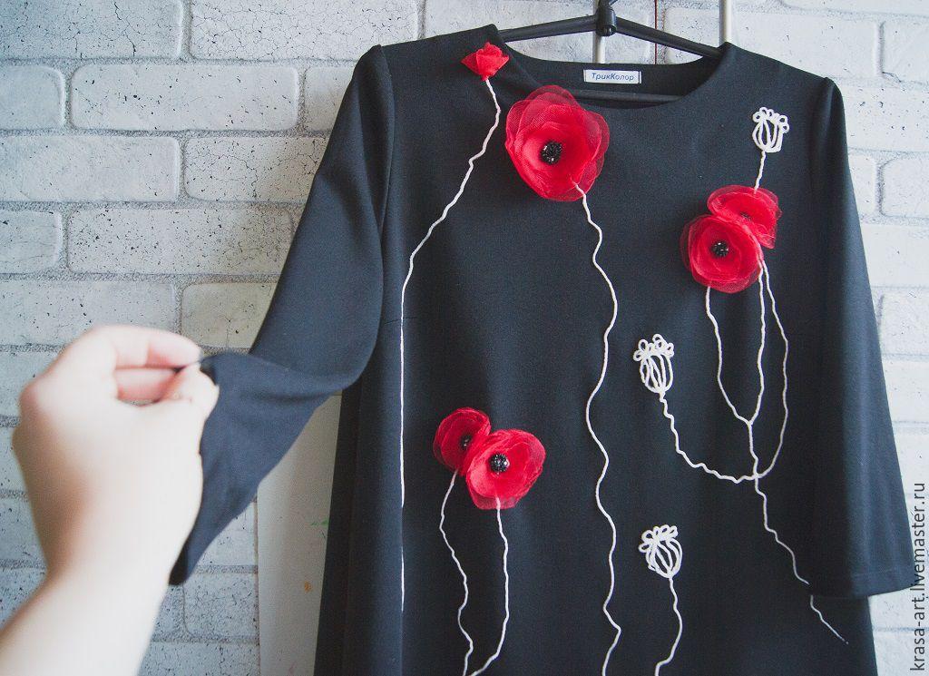 Аппликация из маков на платье