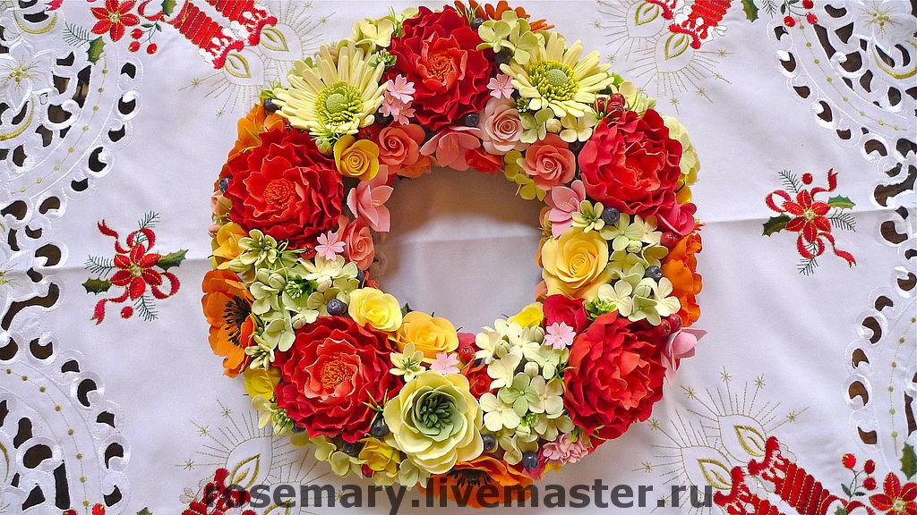 Венок из цветов и ягод, Интерьерные венки, Москва,  Фото №1