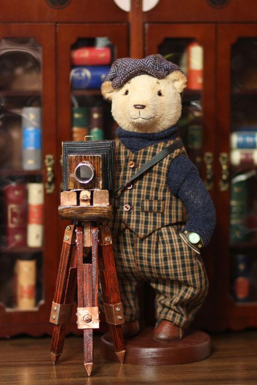 Мишки Тедди ручной работы. Ярмарка Мастеров - ручная работа. Купить Авторский коллекционный мишка фотограф 28 см. Handmade.