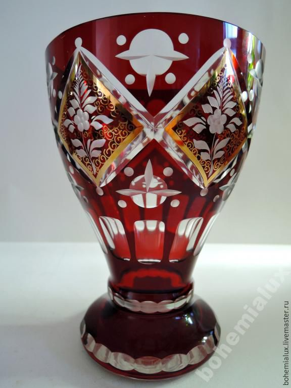 Colored Red Glass Vase Hand Painted Engraved Egermann 1930 1 Shop