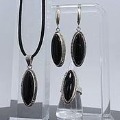 Украшения handmade. Livemaster - original item Jenna Jewelry Set with Obsidian in Silver SP0137. Handmade.