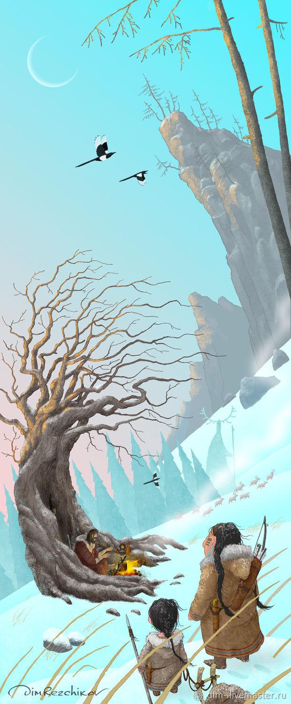 БЕС КОСТРА - авторский принт, картина для календаря 2020, Картины, Москва,  Фото №1