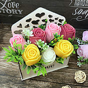 Косметика ручной работы handmade. Livemaster - original item Soap bouquet in a wooden pot Roses mix. Handmade.