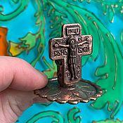 Для дома и интерьера handmade. Livemaster - original item @ Crucifix Candle holder. Silver-plated or patinated brass.. Handmade.
