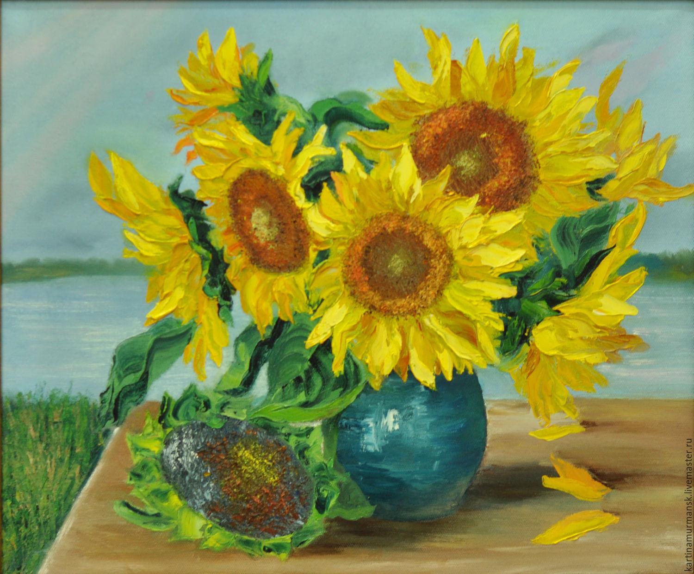 "Oil oil paintsflowers 50/60 ""Solar sunflowers"", Pictures, Murmansk,  Фото №1"