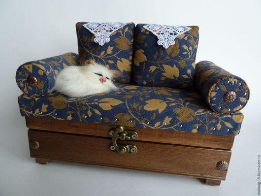 Шкатулки ручной работы. Ярмарка Мастеров - ручная работа. Купить шкатулка - диван. Handmade. Шкатулка для украшений, шкатулка деревянная, синтепон