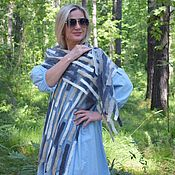 Аксессуары handmade. Livemaster - original item The scarf is felted on silk.Long Silk Felted Scarf Geometry. Handmade.