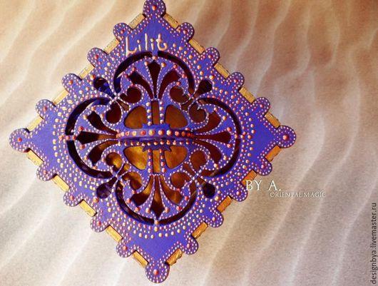 Шкатулки ручной работы. Ярмарка Мастеров - ручная работа. Купить Ажурная фиолетовая шкатулка для украшений точечная роспись восточный. Handmade.