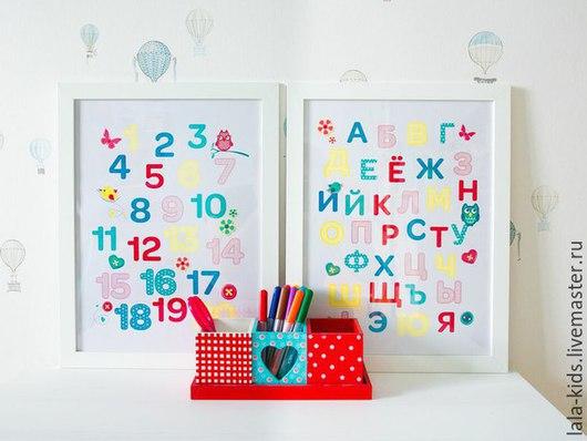 """Детская ручной работы. Ярмарка Мастеров - ручная работа. Купить Постер - алфавит """"Яркие мечты"""". Handmade. Разноцветный, постер"""