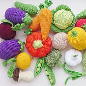 Куклы и игрушки ручной работы. Ярмарка Мастеров - ручная работа Вязаные овощи.Игровой набор 17 штук.. Handmade.