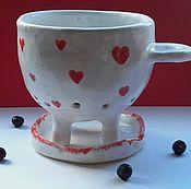 Посуда ручной работы. Ярмарка Мастеров - ручная работа Чашка с Дырками с Сердечками. Handmade.
