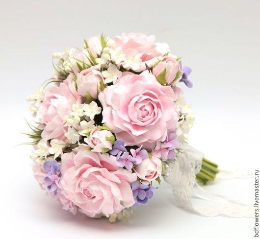 """Свадебные цветы ручной работы. Ярмарка Мастеров - ручная работа. Купить Букет невесты из полимерной глины """"Зефирная нежность"""". Handmade."""