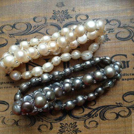 Браслеты ручной работы. Ярмарка Мастеров - ручная работа. Купить Нежный браслет/заколка из морского жемчуга на резинке безразмерный. Handmade.