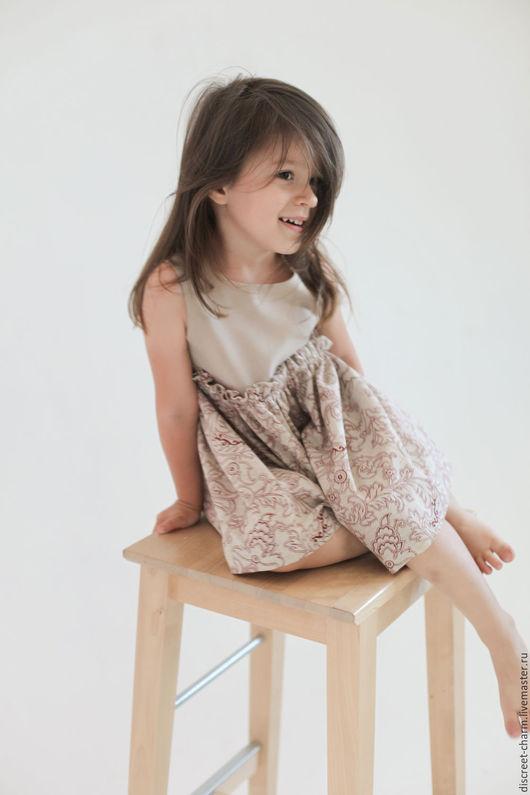 Одежда для девочек, ручной работы. Ярмарка Мастеров - ручная работа. Купить Детское платье с пышной юбкой, бежевое, коричневый цветочный орнамент. Handmade.