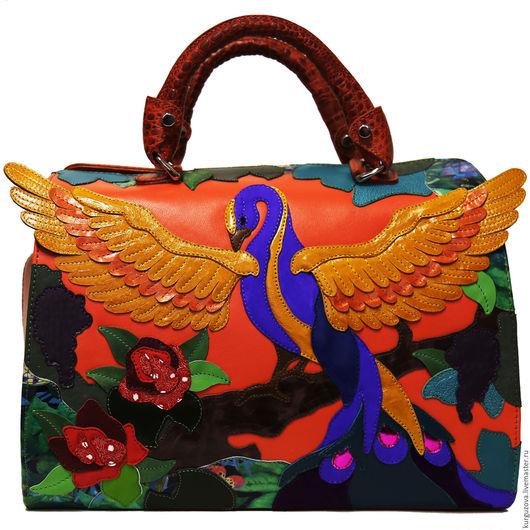 Женские сумки ручной работы. Ярмарка Мастеров - ручная работа. Купить Райская птица. Handmade. Рыжий, сумка кожаная, птица