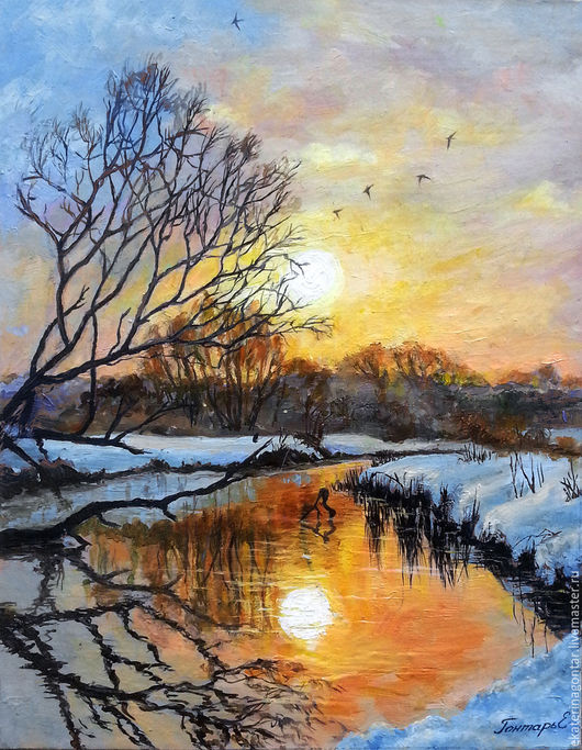 """Пейзаж ручной работы. Ярмарка Мастеров - ручная работа. Купить Картина """"Зимний рассвет над лесной речкой"""". Handmade. Пейзаж"""