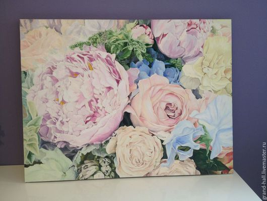 Картины цветов ручной работы. Ярмарка Мастеров - ручная работа. Купить Картина маслом Гармония 60х80 см. Handmade. Кремовый