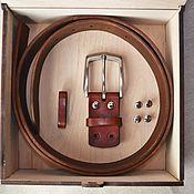Ремни ручной работы. Ярмарка Мастеров - ручная работа Мужской кожаный ремень регулируемый. Handmade.