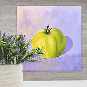 Картины и панно handmade. Livemaster - original item Oil painting: GREEN APPLE, m/x, 40h40, pop art, original. Handmade.