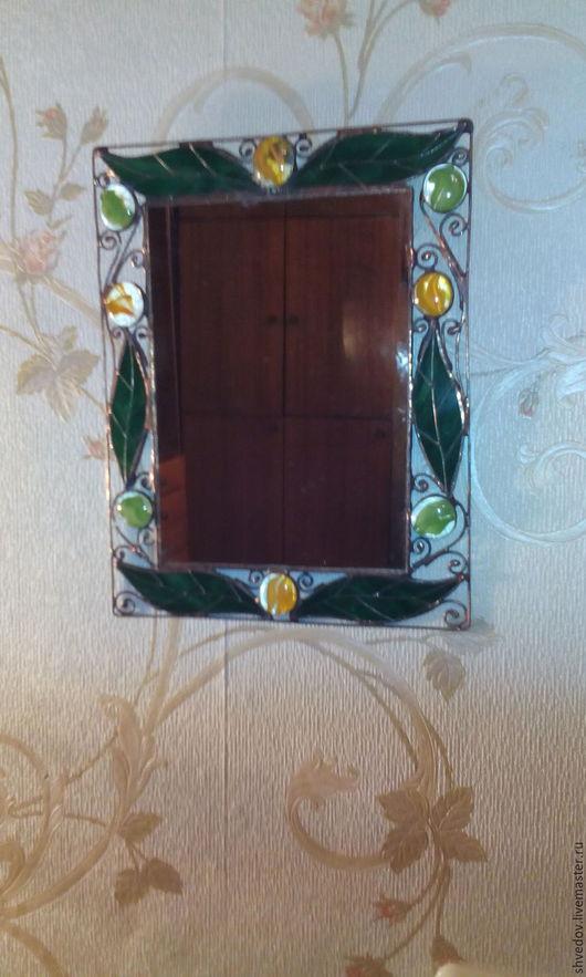 Зеркала ручной работы. Ярмарка Мастеров - ручная работа. Купить зеркало. Handmade. Зеленый, зеркало настенное, Витраж Тиффани, зеркало