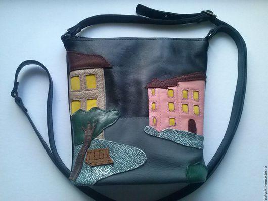 Женские сумки ручной работы. Ярмарка Мастеров - ручная работа. Купить сумка-Ночная улица. Handmade. Черный, сумка с декором