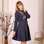 Одежда handmade. Livemaster - original item Warm long Indigo dress, dark blue winter MIDI dress. Handmade.
