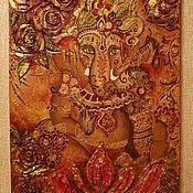 """Картины и панно ручной работы. Ярмарка Мастеров - ручная работа Картина на холсте """"Gold Ganesh"""". Handmade."""