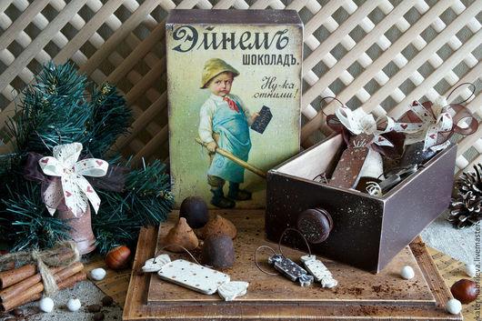 Новый год 2017 ручной работы. Ярмарка Мастеров - ручная работа. Купить -15% Три шоколада - елочные игрушки. Handmade.